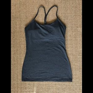Lulu lemon Dark Gray power Y tank size 6.